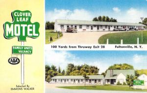 Fultonville New York Clover Leaf Motel Multiview Vintage Postcard K63955