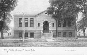 Fremont Nebraska Public Library Exterior Street View Antique Postcard K18370