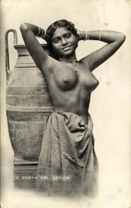 ceylon, Beautiful Rodiya Girl Posing against Large Vase, Pottery (1939) Stamps