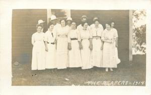 The Reapers~Group Photo~Men~Women~White Dresses~Hats~1914 Real Photo Postcard