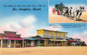 THE LONGHORN RANCH Moriarty, NM Route 66 Roadside New Mexico Postcard ca 1950s