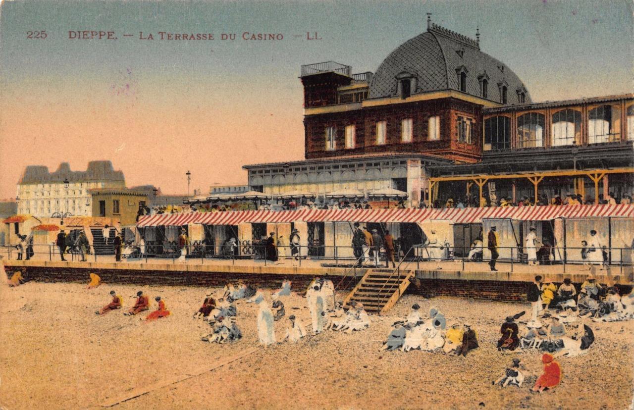 Vintage Hand Coloured Postcard Dieppe La Terrasse Du Casino Terrace
