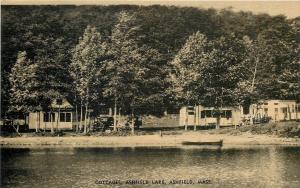 Ashfield Massachusetts~Cottages~Ashfield Lake~Boat~Vintage Autos~1930s Postcard