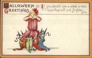 Halloween - Little Witches Dance Around Girl Series 63D c1910 Postcard jrf