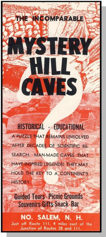 Mystery Hill Caves Brochure, North Salem, New Hampshire/NH