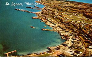 Michigan St Ignace Aerial View Business District