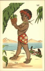 Ethnic Island Boy w/ Pineapple HawaiI 1950 Jondall Linen Postcard TAO