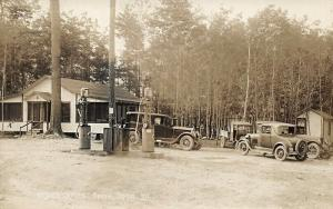 South Casco ME Welch's Camps Gasoline Pumps Old Truck Cars Real Photo Postcard