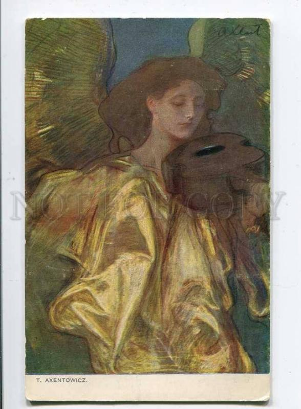 257498 ANGEL w/ VIOLIN by AXENTOWICZ vintage ART NOUVEAU 1908