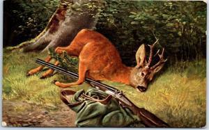 Vintage HUNTING Postcard Dead Deer w/ Rifle & Sack Artist-Signed w/ 1908 Cancel