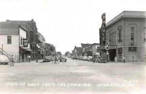 LPS98 Luverne Minnesota Main St. East from Freeman Ave. Town View Postcard RPPC