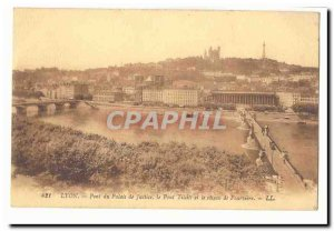 Lyon Old Postcard Bridge courthouse Tilsit the bridge and the hill of Fourviere