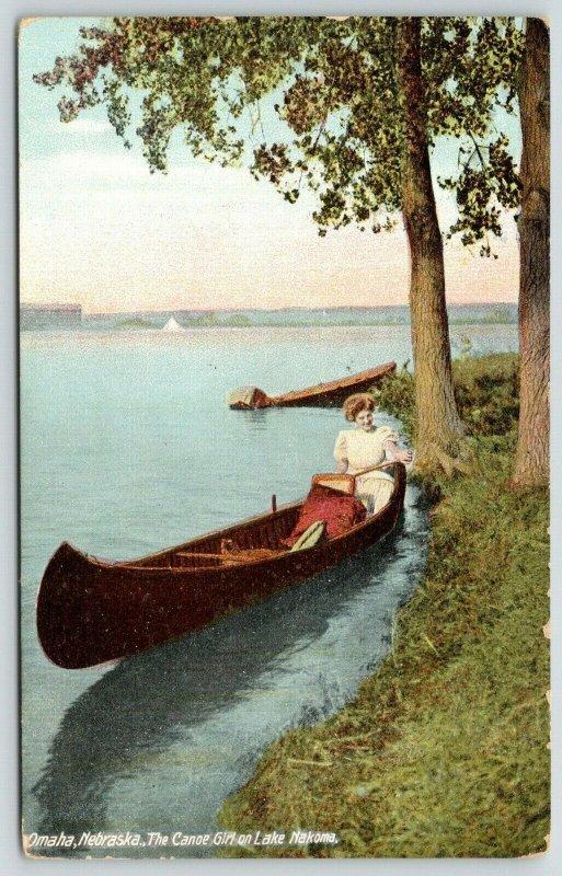 Omaha Nebraska~Lake Nakoma~cThe Canoe Girl~Redhead Lady~1910 Postcard