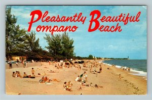Pompano FL- Florida, Perfectly Lovely Sandy Beach, Chrome c1958Postcard
