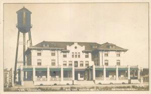 c1910 Gooding Idaho The Lincoln Inn Hotel Water Tower Martin RPPC Real Photo
