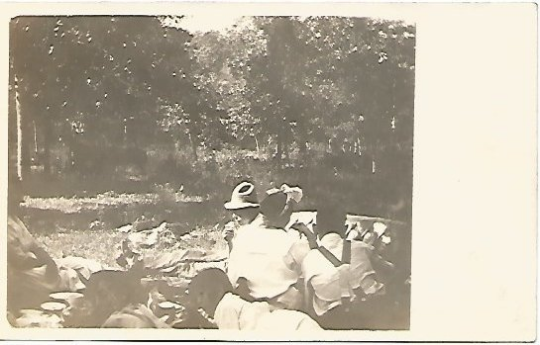 Summer Fun Black and White Photograph of Family Picnicking 100 Years Old Vintage