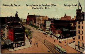 Vtg 1910s Pennsylvania Ave from Post Office Washington DC Unused Postcard