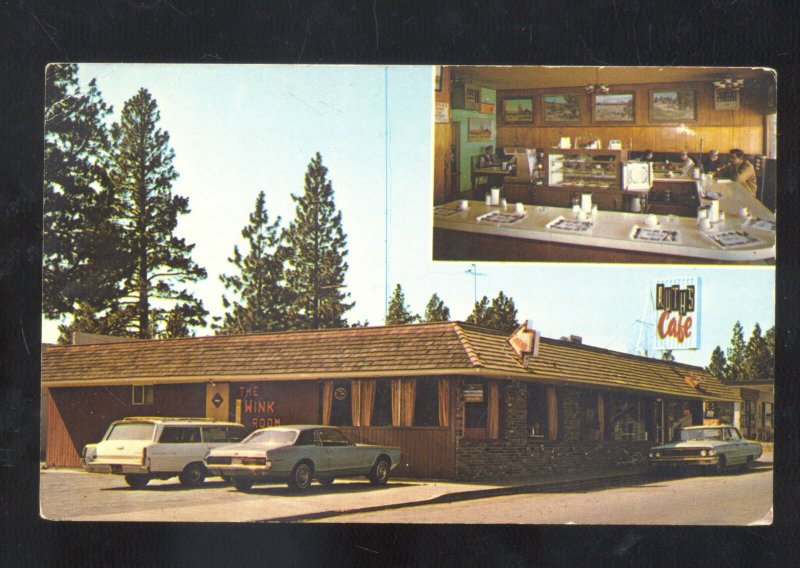 SISTERS OREGON RUTH'S CAFÉ WINK ROOM INTERIOR OLD CARS ADVERTISING POSTCARD