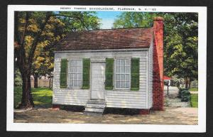 Outside View Henry Timrod Schoolhouse Florence South Carolina Unused c1930s