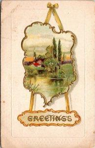 GREETINGS - PAINTING - PORTRAIT VINTAGE - EMBOSSED - Post Card