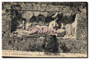 Old Postcard Uriage les Bains Isere Fountain Nympbc Detail