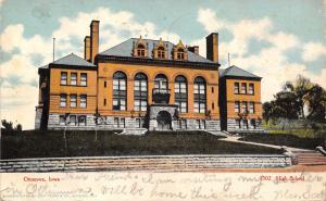 Ottumwa Iowa~High School With 4 Chimneys~Stone Retaining Wall~1907 Postcard