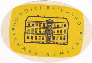 GERMANY SCHWERI HOTEL REICHSHOF VINTAGE LUGGAGE LABEL