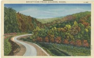 Greetings from Orange, Mass, 1949 used linen Postcard