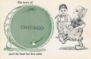 AS: CHICAGO, Illinois, 1900-10s; Dutch Boy watching pretty girl walk by, Drum