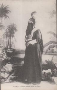 Egypt Native Robed Arab Woman And Her Child Cairo Antique Egyptian Postcard