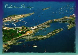 Maine Cribstone Bridge Connecting Orrs and Bailey Island Aerial View