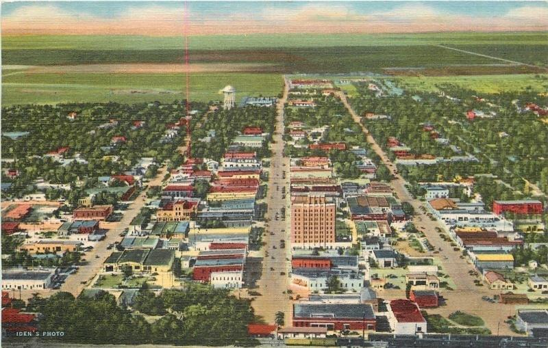 Clovis New Mexico~Panorama: Water Tower Top~Railroad Depot at Bottom~1940s Linen