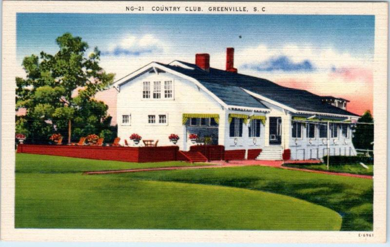 GREENVILLE, South Carolina SC   COUNTRY CLUB   c1940s Linen   Postcard