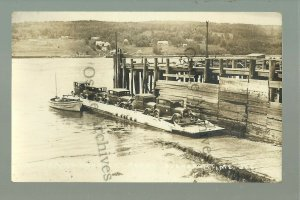 Bucksport MAINE RP c1920s FERRY Crossing River BOAT Cars nr Bangor Belfast WOW!!