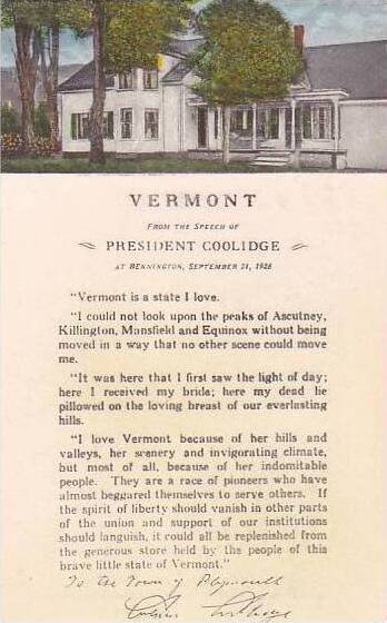 Vermont Bennington Vermont From The Speech Of President Coolidge Albertype
