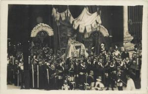 Italy Real Photo Postcard procession religious meeting pope
