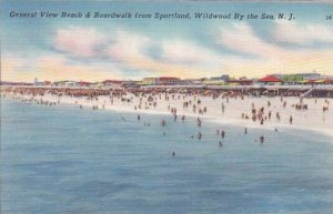 New Jersey Wildwood By the Sea General View Beachwalk From Sportland  1935