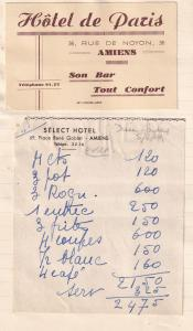 Select Hotel De Paris Amiens Rue De Noyon 1940s Receipt