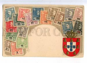 231915 Portugal Coat of arms STAMPS Vintage embossed Zieher PC