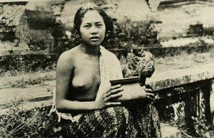 indonesia, BALI, Beautiful Topless Woman with Vase (1910s) RPPC Postcard