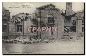 Old Postcard Great War 1914 15 16 Verdun Meuse House destroyed