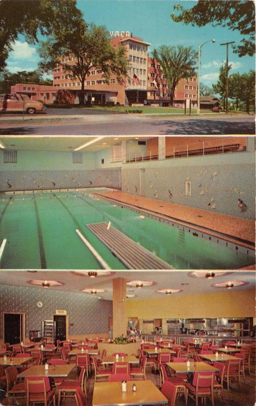 La Grange Illinois~West Suburban YMCA~3 Views~Swimming Pool~Dining Room~1963