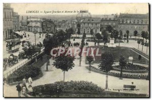 Old Postcard Limoges Jourdan Square and Avenue de la Gare