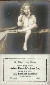 Horse Adv OAK HARNESS LEATHER Kroehle Sons Co Little Girl c1910 RPPC jrf