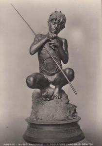 Fisherman Fishing Italian Italy Statue Museum Gemito Antique Sculpture Postcard