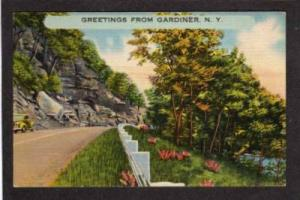 NY Greetings from GARDINER NEW YORK PC Linen Postcard