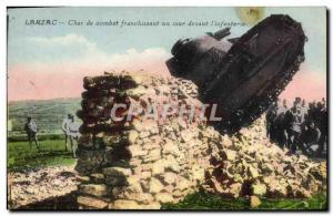 Old Postcard Army Tank Larzac Battle Tank crossing a wall in front of & # 39i...