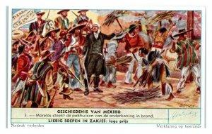 Morelos Burns Viceroy's Warehouses, History of Mexico Liebig Belgian Trade Card