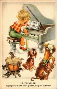 CPA AK Le Pianiste DOGS (729386)