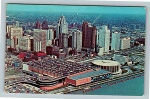 Detroit MI-Michigan, Aerial View, Civic Center, Skyline, Chrome Postcard